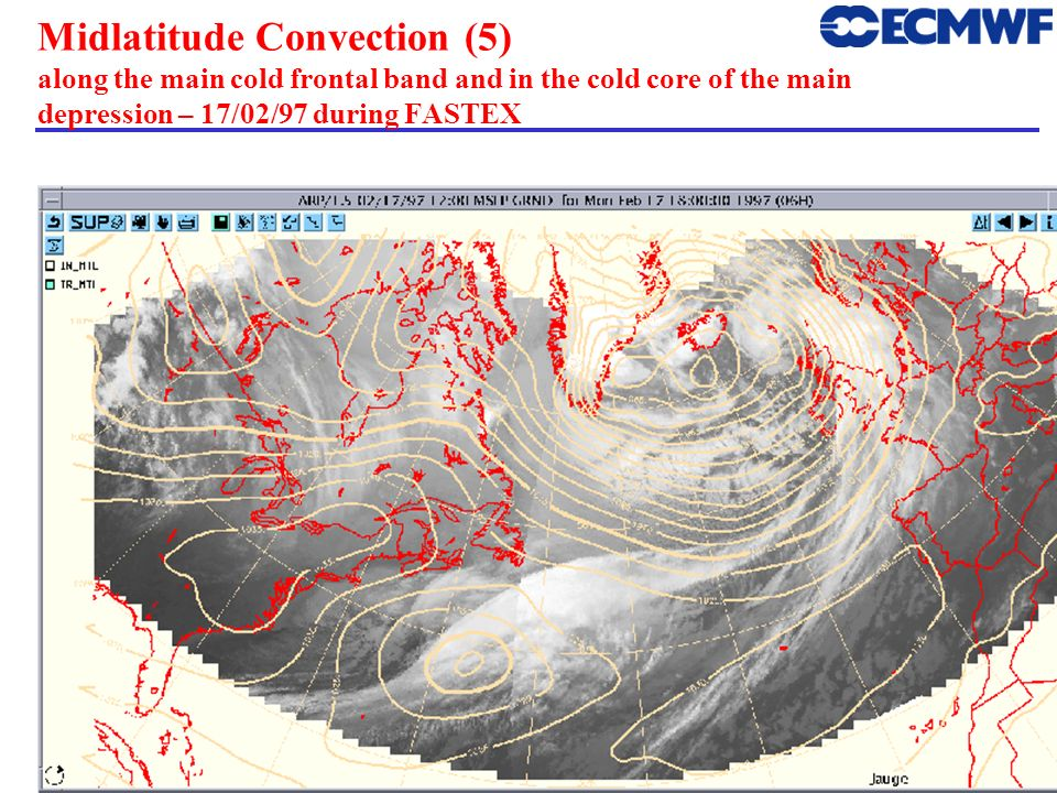 Midlatitude Convection (5) along the main cold frontal band and in the cold core of the main depression – 17/02/97 during FASTEX