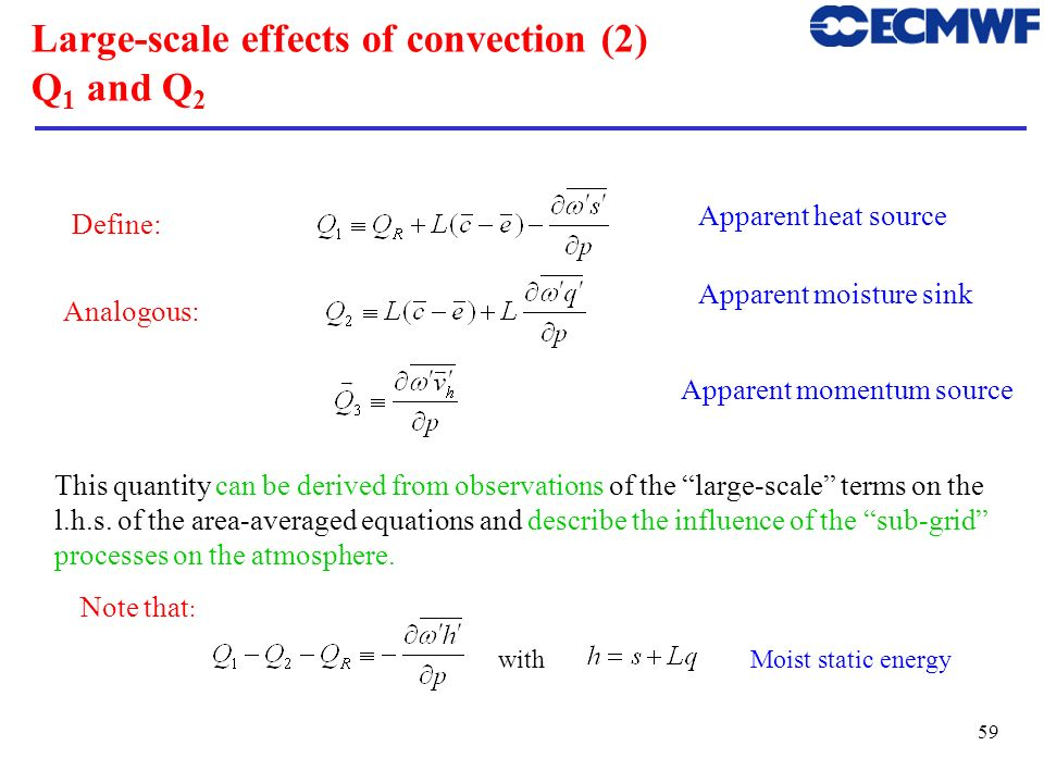 Large-scale effects of convection (2) Q1 and Q2