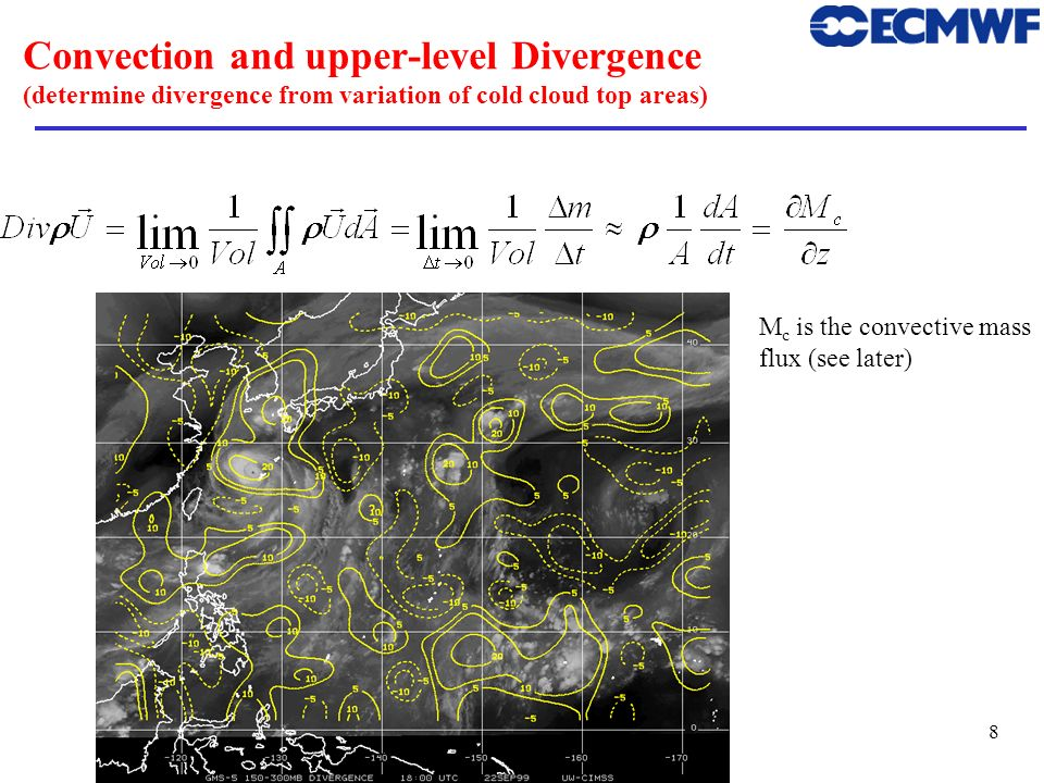 Convection and upper-level Divergence (determine divergence from variation of cold cloud top areas)