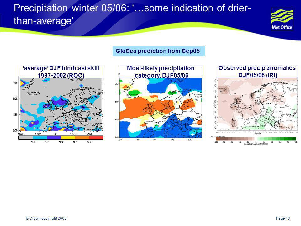 Precipitation winter 05/06: '…some indication of drier-than-average'