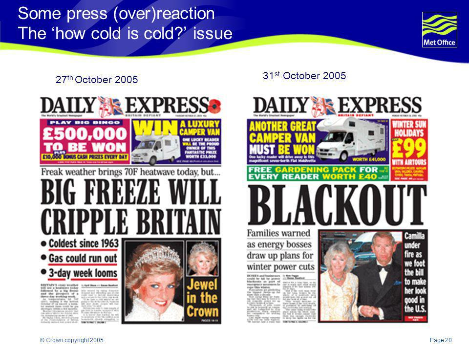 Some press (over)reaction The 'how cold is cold ' issue