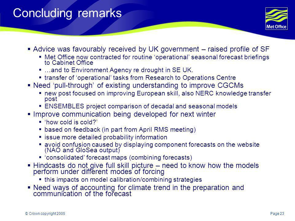 Concluding remarks Advice was favourably received by UK government – raised profile of SF.