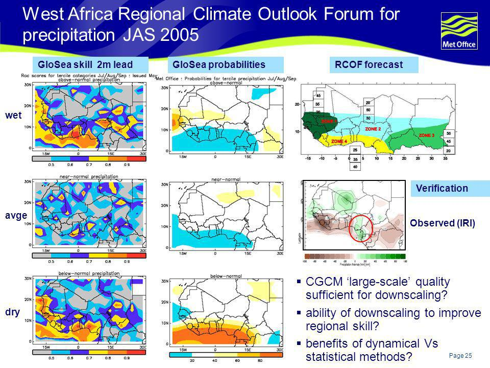 West Africa Regional Climate Outlook Forum for precipitation JAS 2005