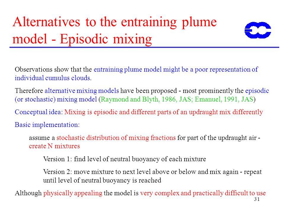 Alternatives to the entraining plume model - Episodic mixing