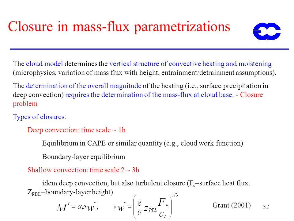 Closure in mass-flux parametrizations