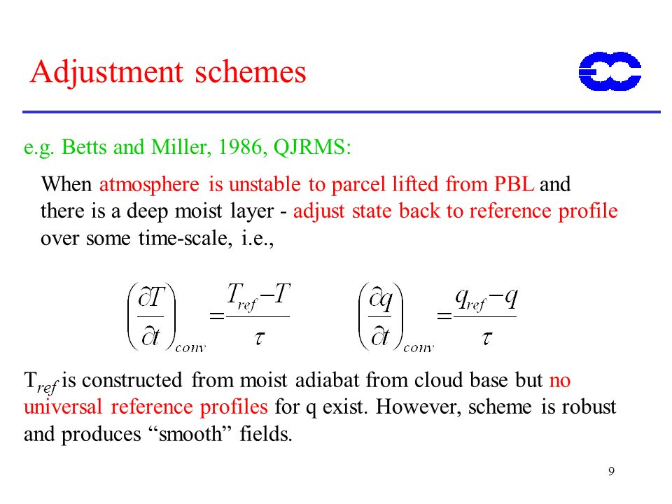 Adjustment schemes e.g. Betts and Miller, 1986, QJRMS:
