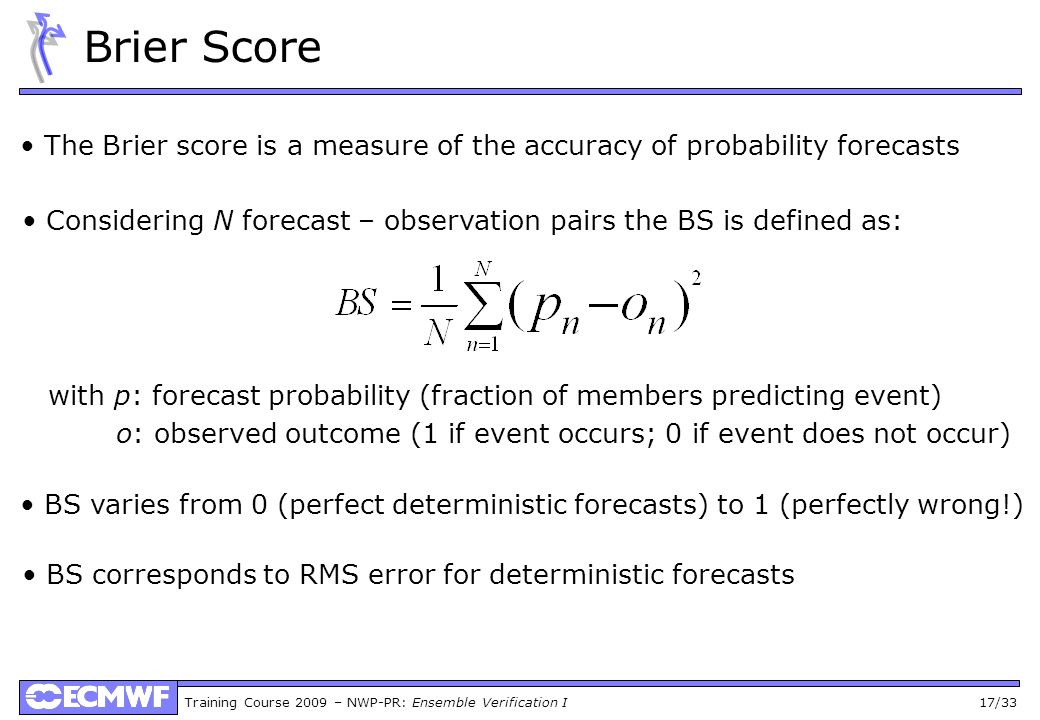 Brier Score • The Brier score is a measure of the accuracy of probability forecasts.