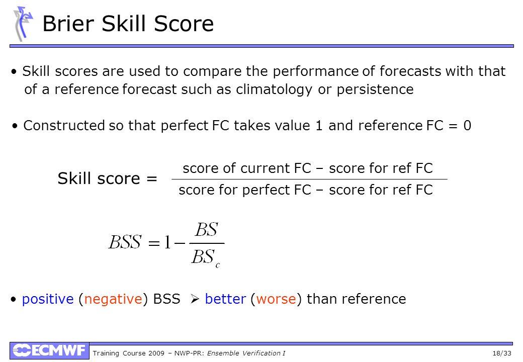 Brier Skill Score Skill score =