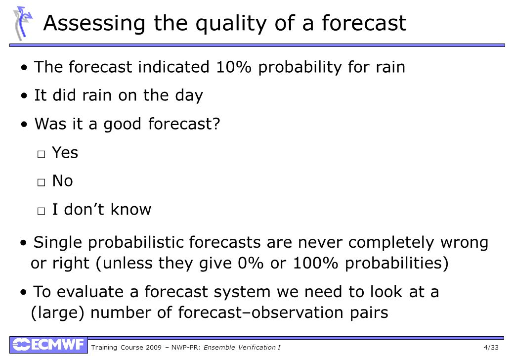 Assessing the quality of a forecast