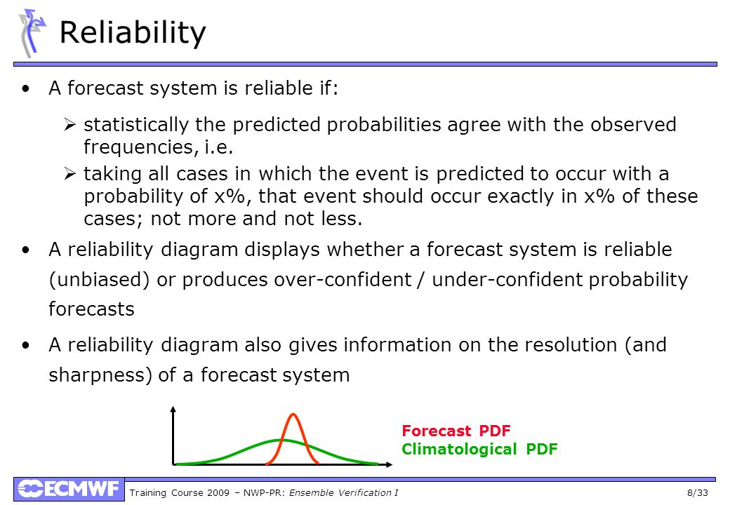 Reliability A forecast system is reliable if: