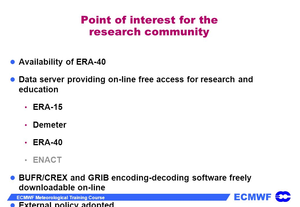 Point of interest for the research community