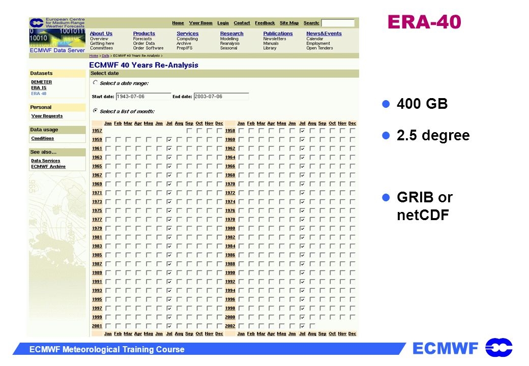 ERA-40 400 GB 2.5 degree GRIB or netCDF