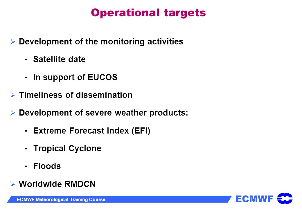 Operational targets Development of the monitoring activities