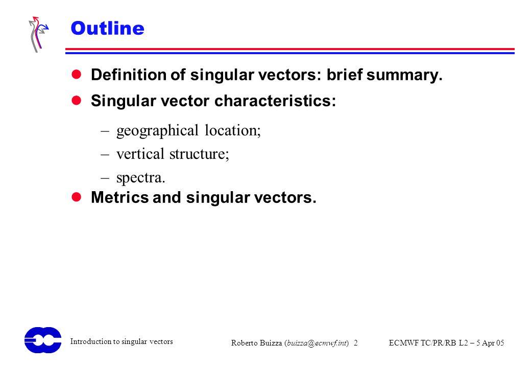 Outline Definition of singular vectors: brief summary.