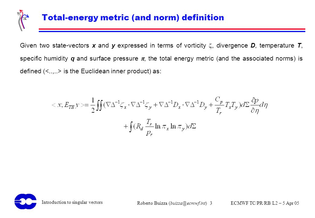 Total-energy metric (and norm) definition