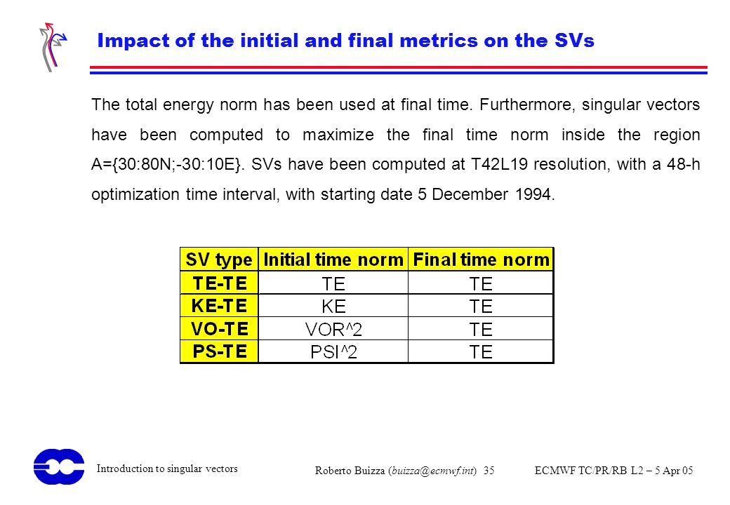 Impact of the initial and final metrics on the SVs