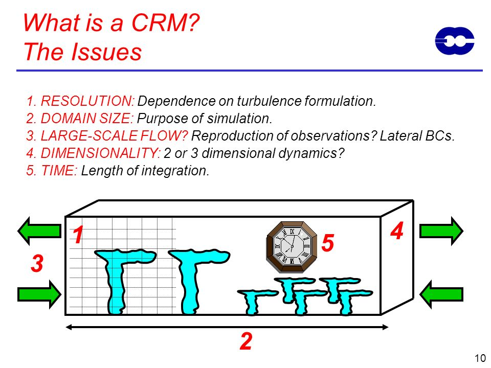 What is a CRM The Issues 1. RESOLUTION: Dependence on turbulence formulation. 2. DOMAIN SIZE: Purpose of simulation.