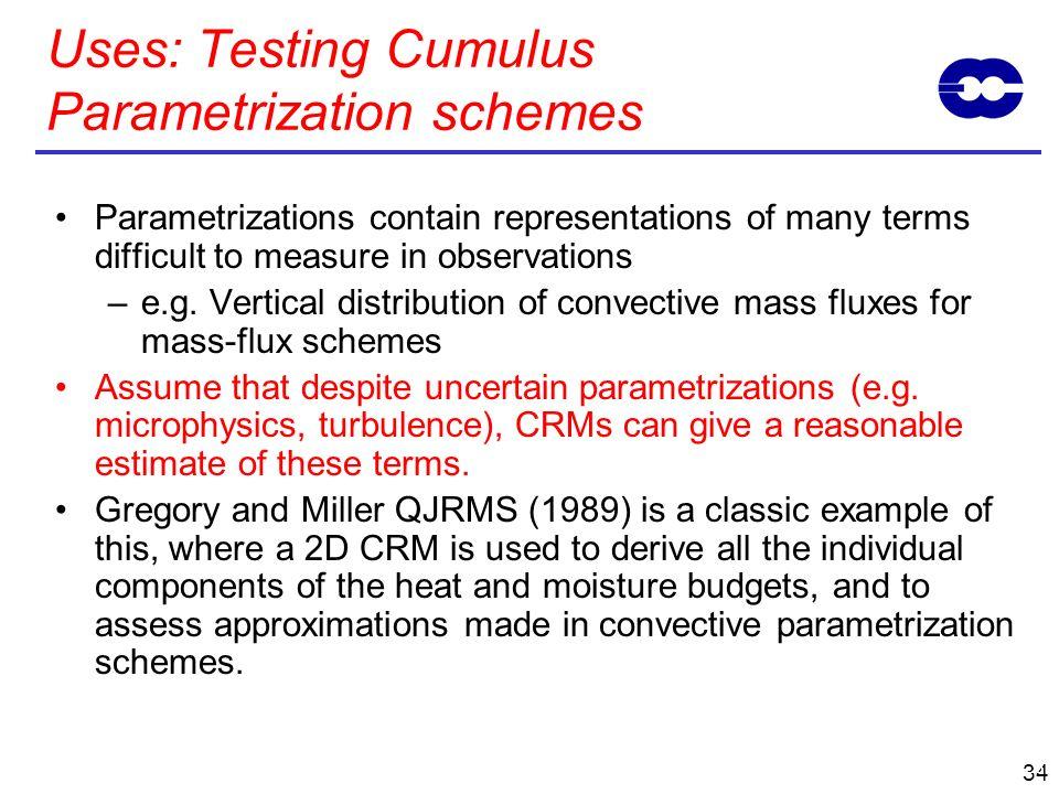 Uses: Testing Cumulus Parametrization schemes