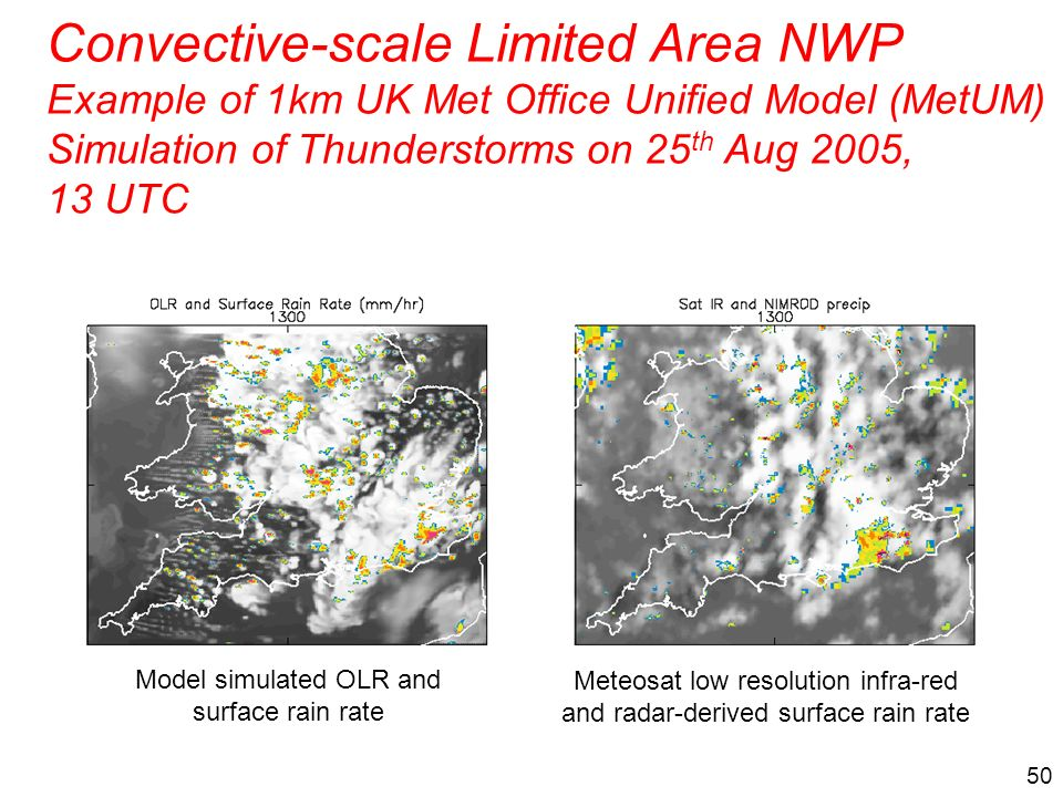 Convective-scale Limited Area NWP Example of 1km UK Met Office Unified Model (MetUM) Simulation of Thunderstorms on 25th Aug 2005, 13 UTC