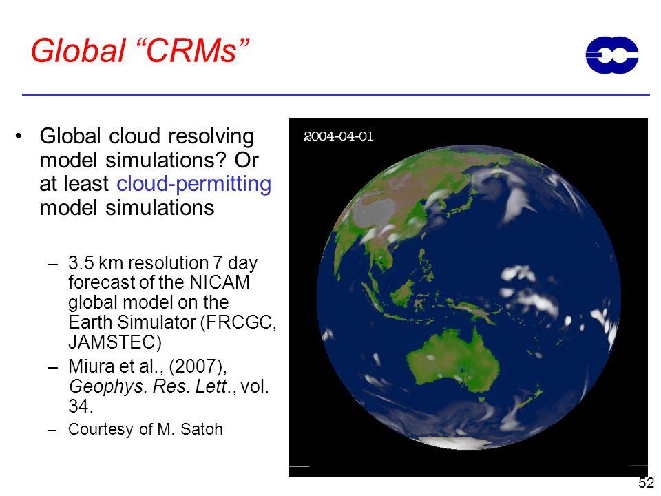 Global CRMs Global cloud resolving model simulations Or at least cloud-permitting model simulations.