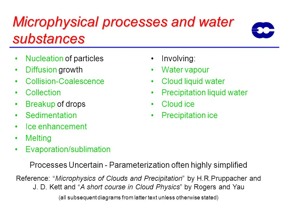 Microphysical processes and water substances