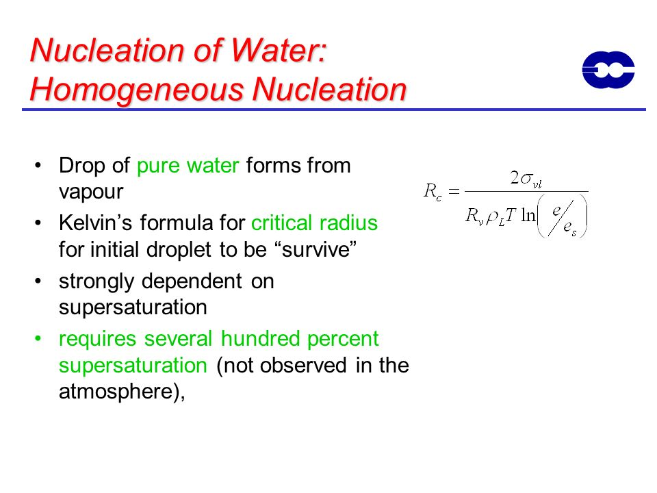 Nucleation of Water: Homogeneous Nucleation