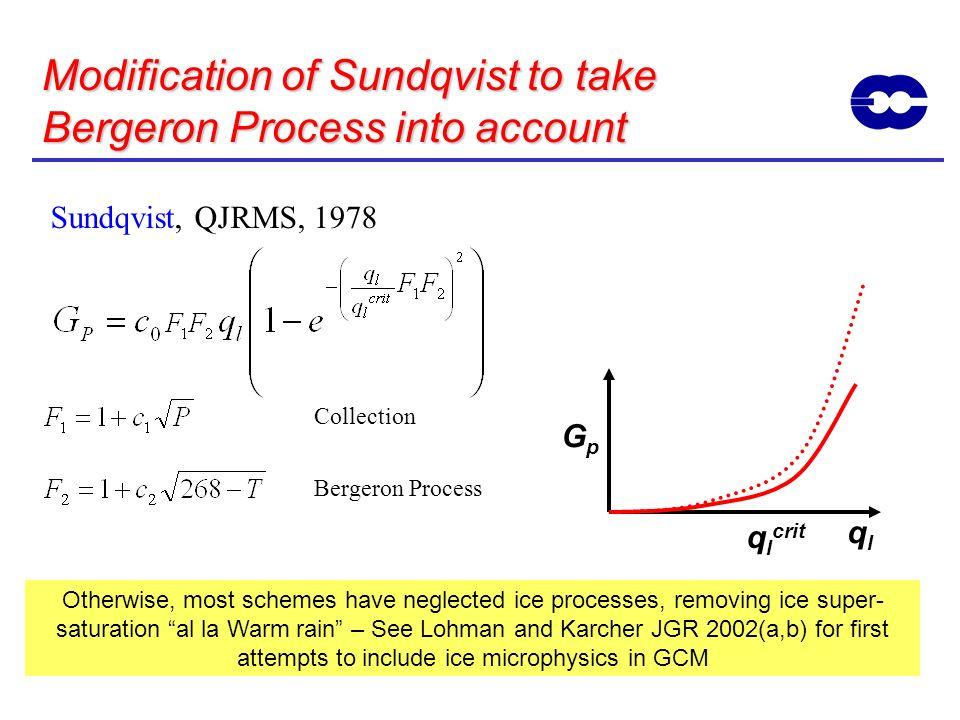 Modification of Sundqvist to take Bergeron Process into account