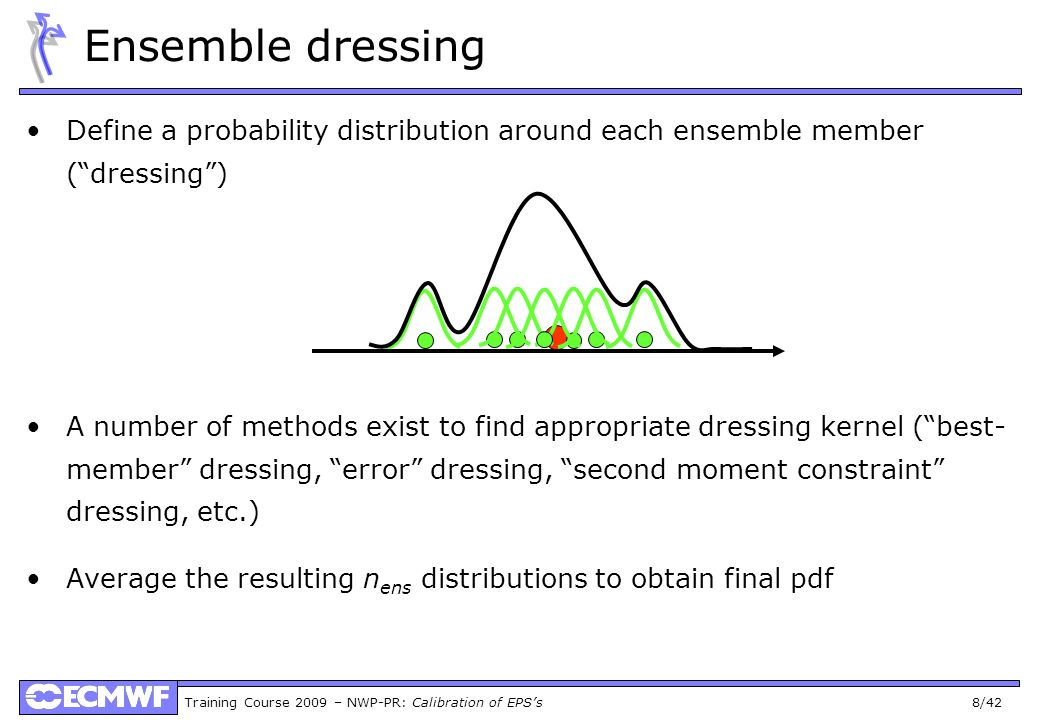 Ensemble dressing Define a probability distribution around each ensemble member ( dressing )