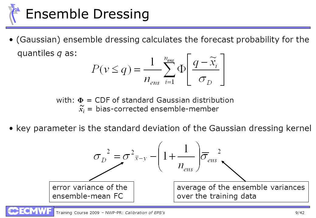 Ensemble Dressing (Gaussian) ensemble dressing calculates the forecast probability for the. quantiles q as: