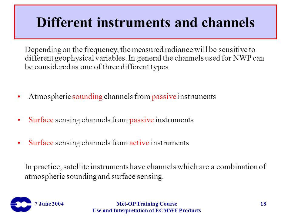 Different instruments and channels
