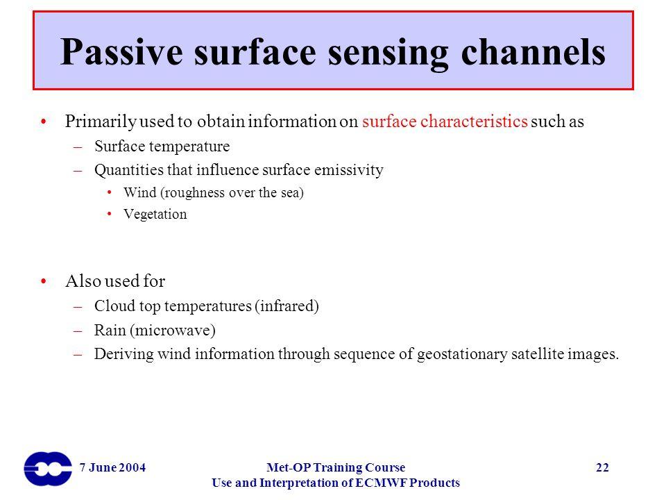 Passive surface sensing channels