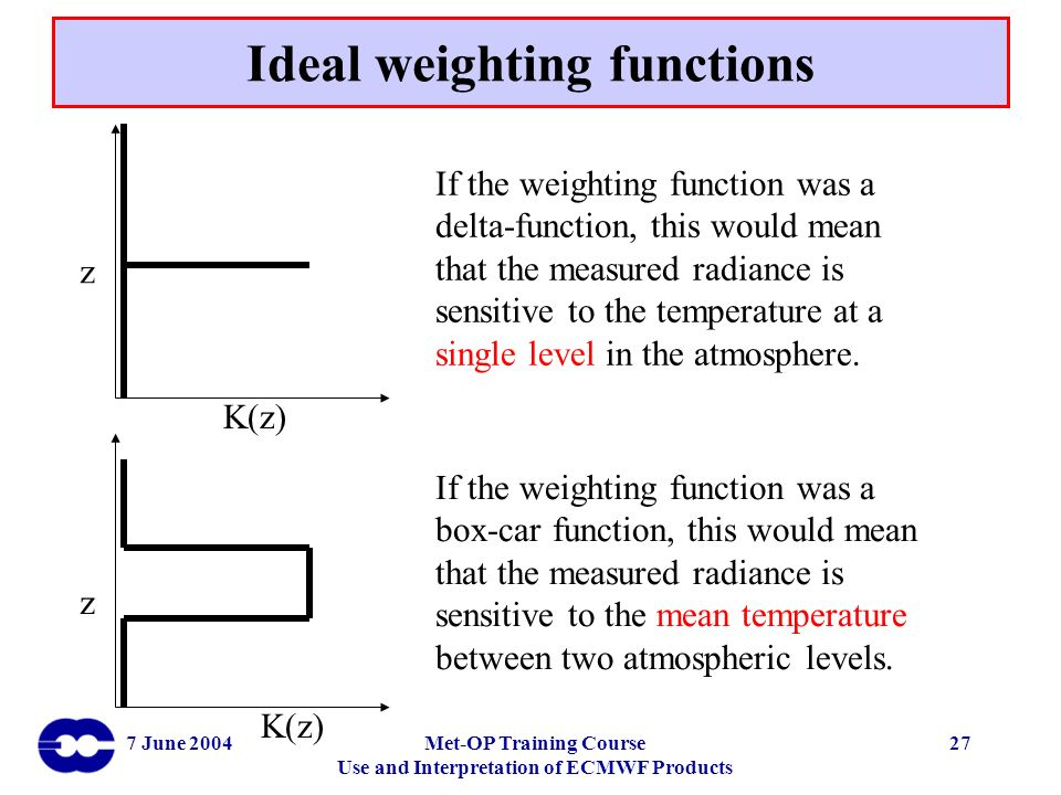 Ideal weighting functions