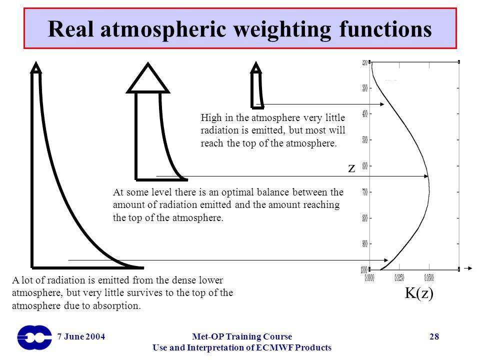Real atmospheric weighting functions