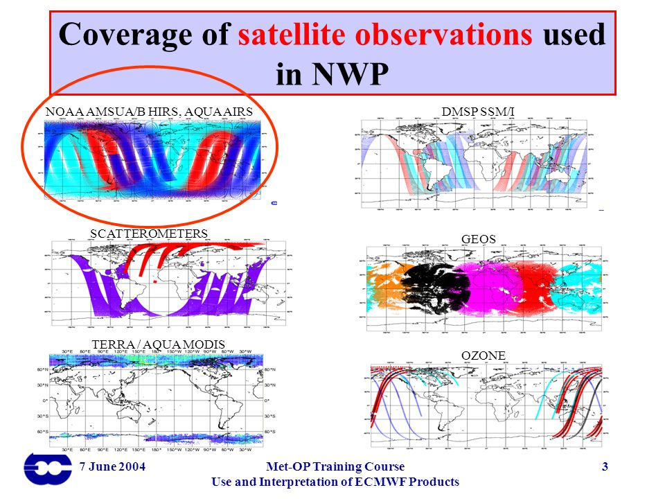 Coverage of satellite observations used in NWP