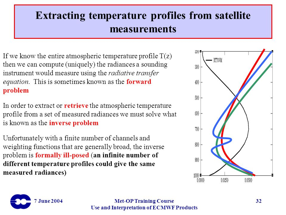 Extracting temperature profiles from satellite measurements