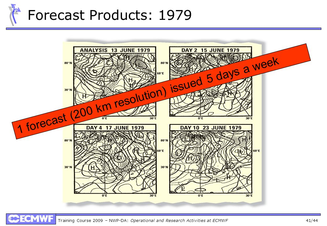 Forecast Products: 1979 1 forecast (200 km resolution) issued 5 days a week