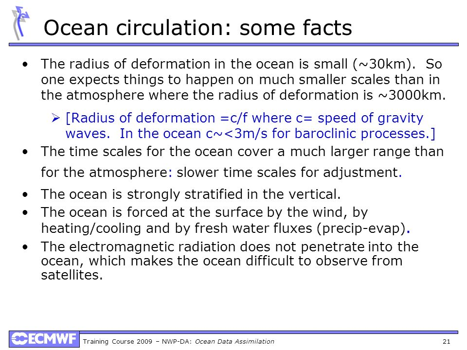 Ocean circulation: some facts