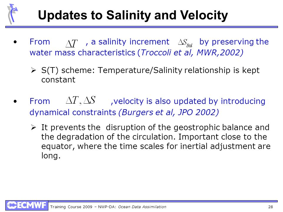 Updates to Salinity and Velocity