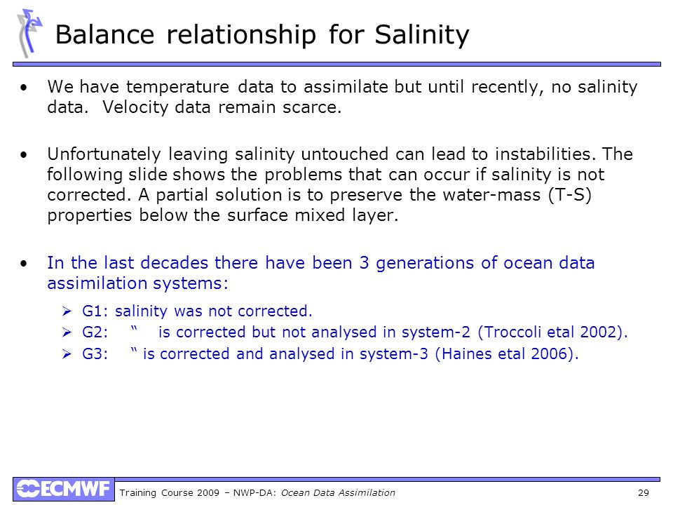 Balance relationship for Salinity