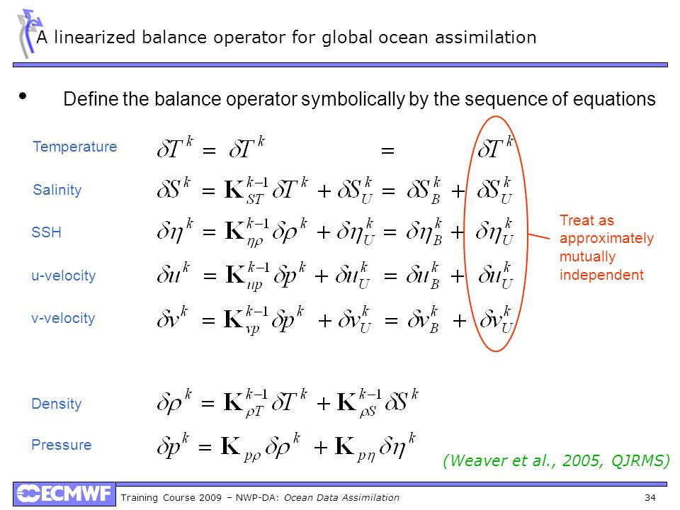 A linearized balance operator for global ocean assimilation