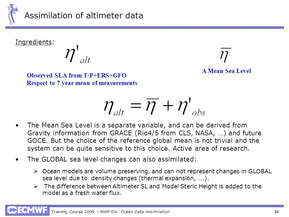 Assimilation of altimeter data