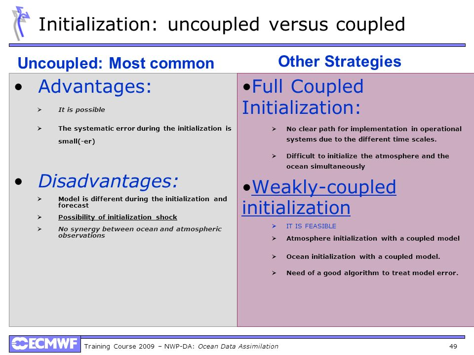 Initialization: uncoupled versus coupled