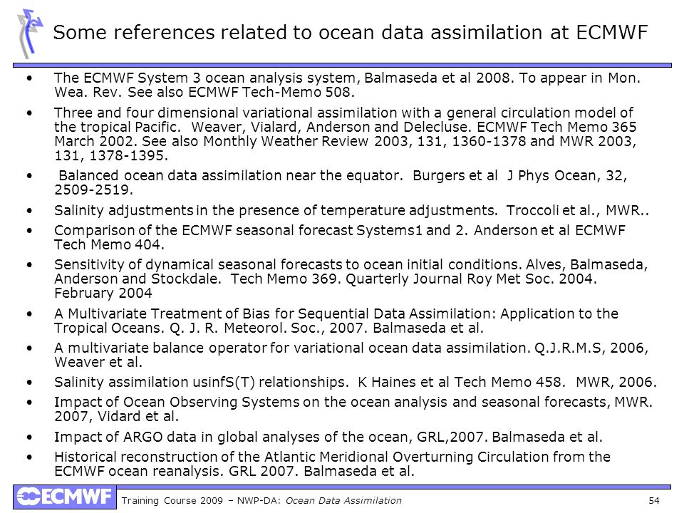 Some references related to ocean data assimilation at ECMWF