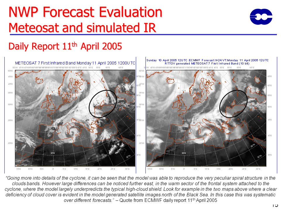 NWP Forecast Evaluation Meteosat and simulated IR