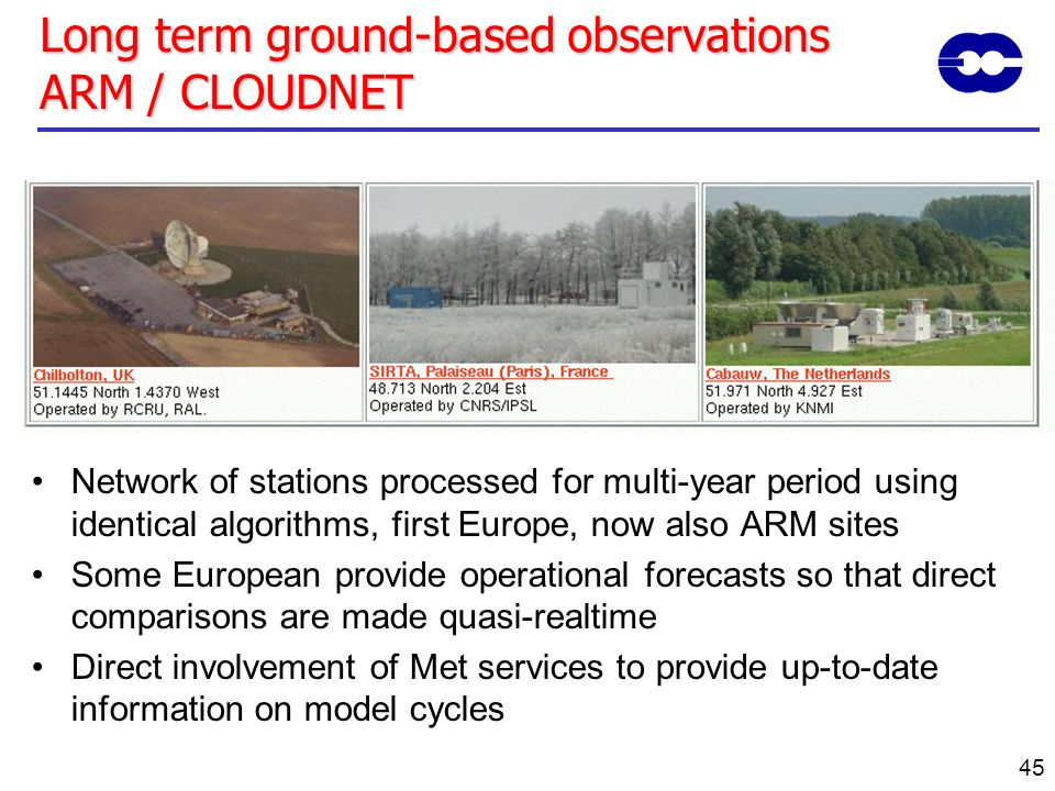 Long term ground-based observations ARM / CLOUDNET