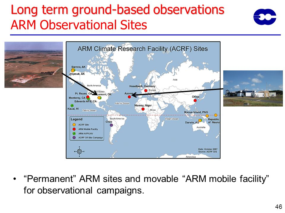 Long term ground-based observations ARM Observational Sites