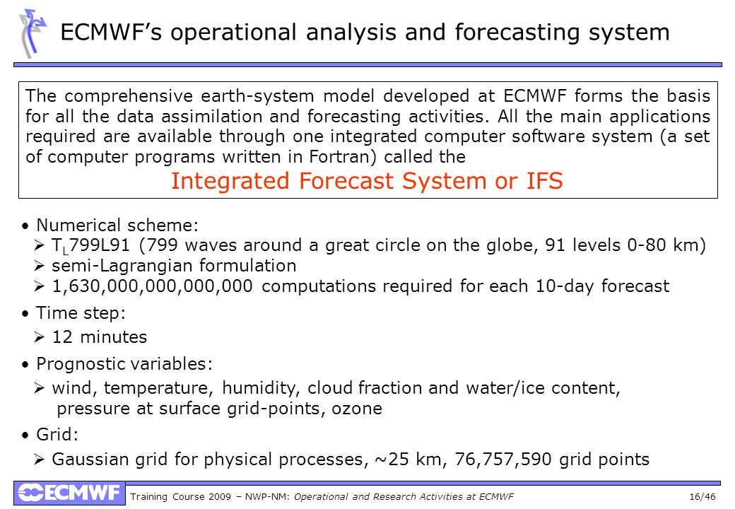 ECMWF's operational analysis and forecasting system