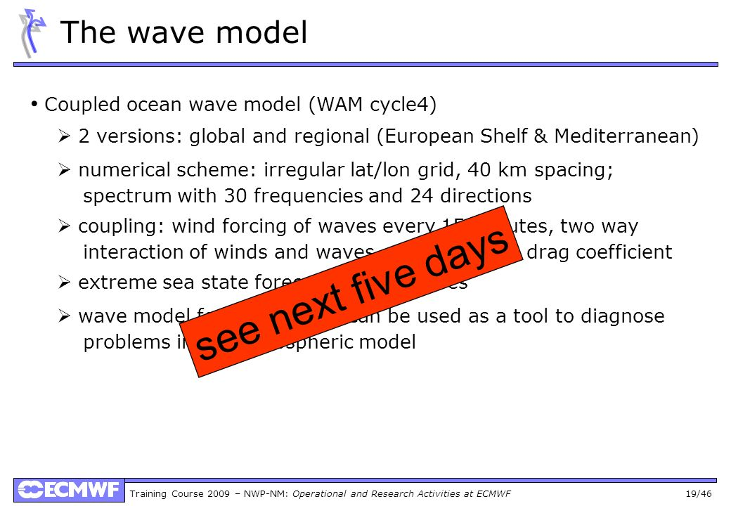 see next five days The wave model