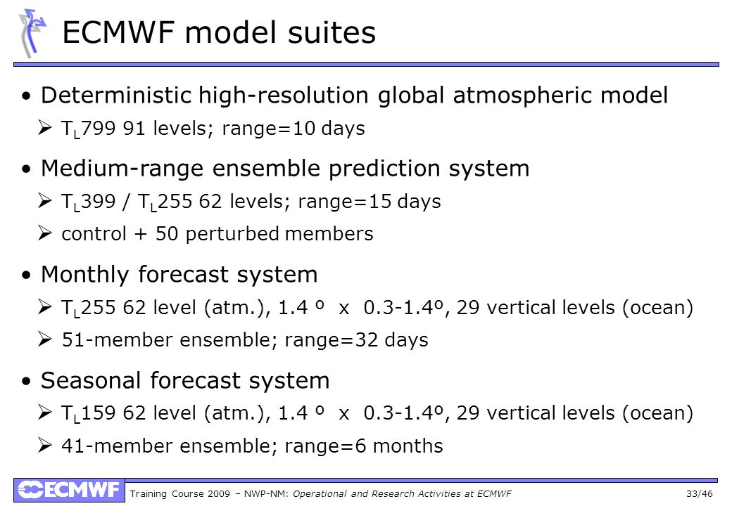 ECMWF model suites • Deterministic high-resolution global atmospheric model.  TL799 91 levels; range=10 days.