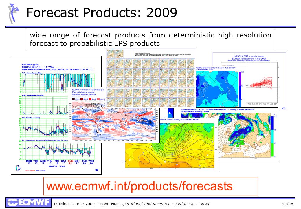 Forecast Products: 2009 www.ecmwf.int/products/forecasts